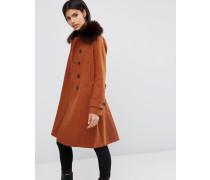 Mantel aus Wollmischung mit Military-Details und kontrastierenden Knopflöchern Orange