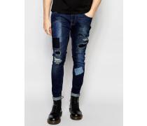 Brooklyn Supply Co Skinny-Jeans in mittlerer Repair-Waschung mit Aufnähern im Distressed-Look Blau