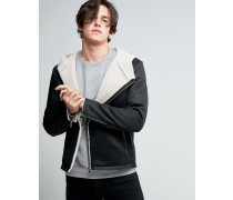 Jacke mit Kapuze in Lammfelloptik und asymmetrischem Reißverschluss Schwarz