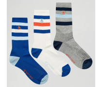 Retro-Sportsocken im 3er-Set Blau