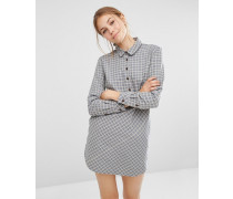 Dip Chambray-Hemdkleid mit verlängertem Saum hinten Grau