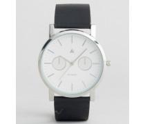 Uhr mit schwarzem Lederarmband und weißem Zifferblatt Schwarz