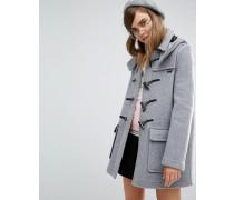 Klassischer Mantel mit abnhembarer Kapuze Grau
