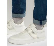 Mittelhohe Sneaker in Weiß mit perforiertem Riemen Marineblau