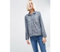 Hochwertige Jeans-Schlafanzugbluse mit bestickter Tasche Grau