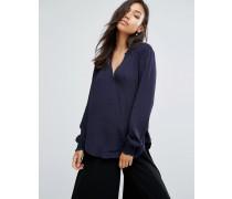 Bluse mit V-Ausschnitt Marineblau