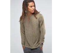 Langes Sweatshirt im Used-Look mit Saumdetail Grün