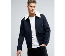 Burton Herrenkleidung Marineblaue Jacke it Borg-Kragen Marineblau