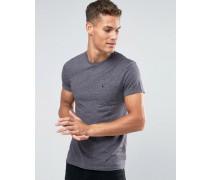 Anthrazitfarbenes T-Shirt in schmaler Passform mit Noppen und Tasche Grau