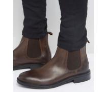 Chelsea-Stiefel aus braunem Leder mit schwerer Sohle Braun
