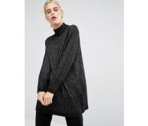 Hochgeschlossener Oversize-Pullover Schwarz