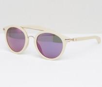 Jeans Runde Sonnenbrille mit Brauensteg Weiß