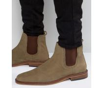 Chelsea-Stiefel aus braungrauem Leder Braun