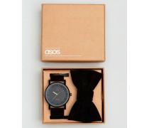 Armbanduhr und Fliege im Set in Schwarz Schwarz