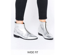ALBIE Spitze Ankle-Boots in weiter Passform Silber