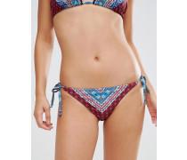 Patchwork-Bikinihose mit Bommeln Mehrfarbig
