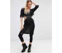Nell Netzstoff-Kleid mit Zierausschnitten Schwarz