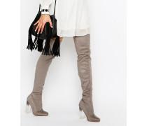 Overknee-Stiefel mit transparentem Absatz Grau