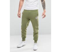 10003292-A01 Jogginghose mit Aufnäher und gerippten Bündchen Grün