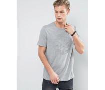 Graues T-Shirt mit Logo-Prägung, 10003650-A01 Grau
