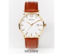 Exklusiv bei ASOS Uhr mit Lederarmband in Braun und Golddetail, 1112 Braun