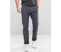 Schmale Hose aus gebürsteter Baumwolle Marineblau