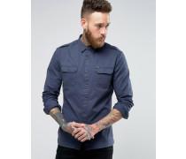 Hemd im Military-Stil Marineblau