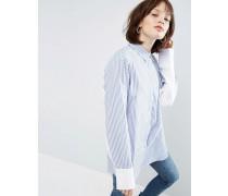 Gestreiftes Oversize-Hemd mit kontrastierenden Fledermausärmeln Mehrfarbig