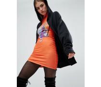 X Granted Figurbetontes, hochgeschlossenes Kleid mit Gothic-Print Orange
