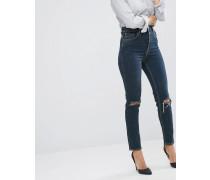 Farleigh Schmal geschnittene Mom-Jeans in dunkler Delphine-Waschung mit zerrissenen Knien Blau