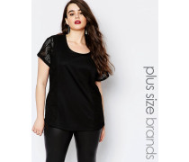 Kurzärmliges T-Shirt mit Spitzeneinsätzen mit geometrischem Muster Schwarz