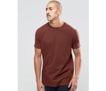 Langes, rotes T-Shirt mit kurzen Ärmeln Rot