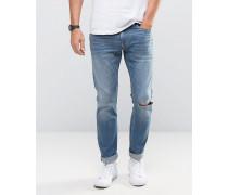 Skinny-Jeans mit Stretch und Flicken, mittelblaue Waschung Blau