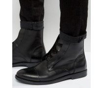Schnürstiefel aus Leder Schwarz