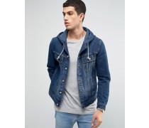 Jeansjacke mit Kapuze in mittlerer Waschung Blau