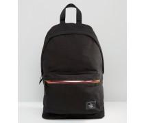 Rucksack aus schwarzem Canvas mit schimmerndem Reißverschluss Schwarz