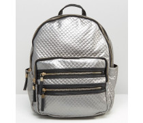 Stepprucksack in Metallic-Optik Silber