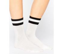 Schulteam-Socken mit Streifen Weiß