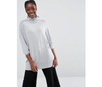 Oversize-Pullover mit Rollkragen Grau