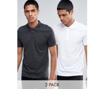 Jersey-Polohemden im 2er-Pack, Weiß/Grau, 15% RABATT Mehrfarbig