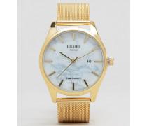 Goldfarbene Uhr mit Netzarmband Gold