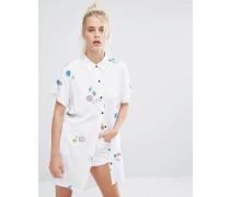 Übergroßes Hemd mit Planeten- und Weltraumprint Weiß