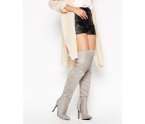 Overknee-Stiefel zum Schnüren Grau