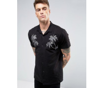 Brooklyn Supply Co Shirt mit orientalischer Stickerei Schwarz