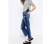 Jeans mit geradem Bein aus dekonstruiertem Denim Blau