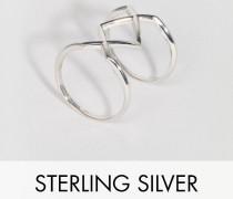 Übergroßer, geometrischer Ring aus Sterlingsilber Silber
