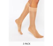 Kniehohe Socken im 3er-Set Beige