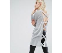 Übergroßer Pullover mit überkreuztem Rücken Grau