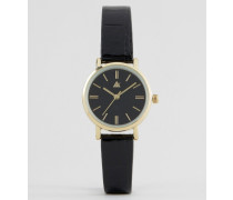 Elegante, kleine Armbanduhr in Lackschwarz Schwarz