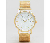 Goldene Uhr mit Netzarmband Gold